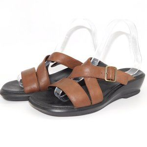 "Clarks ""Velva"" Brown Leather Slip-On  Sandal"